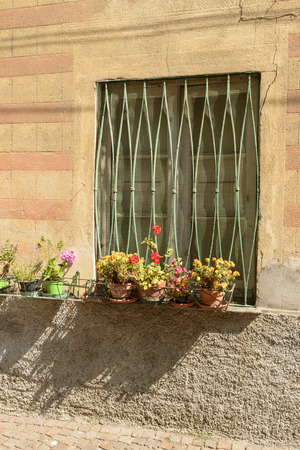 grated window with flowers on painted facade in Sasello village, inland Ligure, Italy