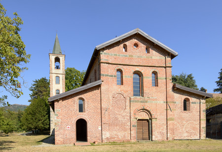 facade of ancient church of Santa Maria alla Croce Cistercian abbey, Tiglieto, inland Ligure, Italy