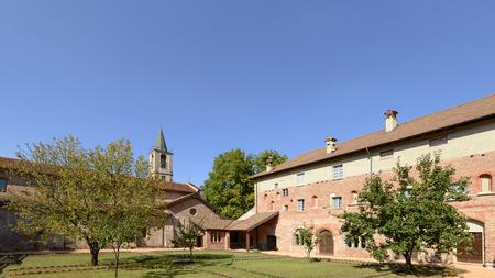 courtyard of St. Mary of the Cross Cistercian abbey, Tiglieto, inland Ligure, Italy