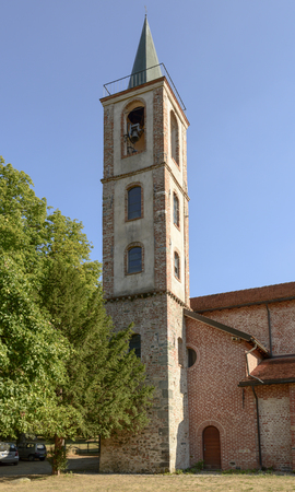 bell tower at St. Mary of the Cross Cistercian abbey, Tiglieto, inland Ligure, Italy