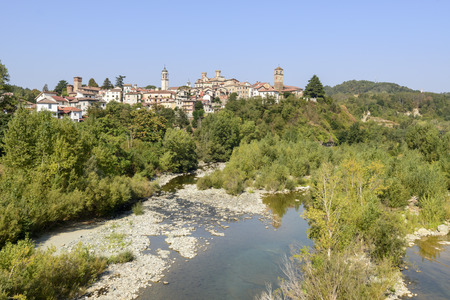 Molar village in Piedmont on the Orba river valley, shot in bright late summer light Stock Photo
