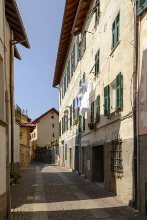view of street and old houses in the village of Sassello, inland Ligure, Italy