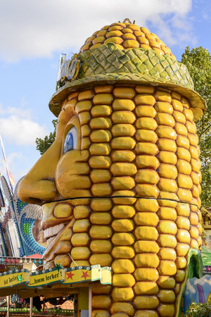 STUTTGART, GERMANY - OCTOBER 02: view of a quaint corn ear stall in carnival. Shot at Oktoberfest in city center on oct 02, 2016 Stuttgart, Germany Editorial