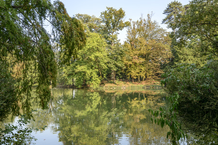 autumnal landscape of lake at Villa Reale park, shot in early fall in Monza, Italy