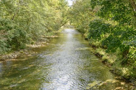 Wutach small river flowing among trees. Shot near Achdorf, Wuttenberg Baden, Germany