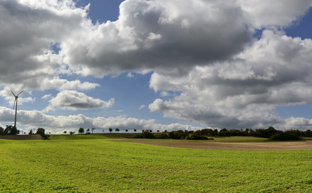 bright clouds over the German countryside. Shot in bright light near Bonndorf, Baden Wuttenberg, Germany