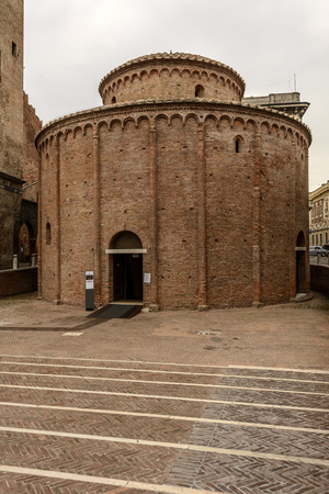 View of medieval round Romanesque church of San Lorenzo, shot in bright light at Mantua, Lombardy, Italy Stock Photo