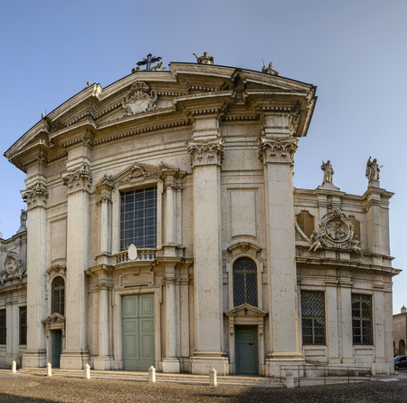 View of cathedral church of San Pietro, shot in bright light at Mantua, Lombardy, Italy