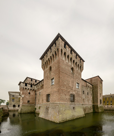view of nort-east dungeon at Gonzaga Ducal Palace fortress, shot in bright cloudy light at Mantua, Lombardy, Italy