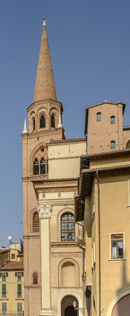 view of Romanesque bell tower of St. Andrea church, shot in bright sunlight at Mantua, Lombardy, Italy Stock Photo