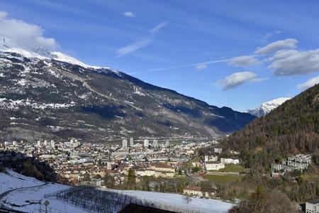 winter aerial cityscape of Chur historical town, Garabaunden, Switzerland
