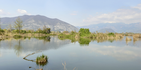 panoramic landscape at lagoon, sun light at nature oasis, Iseo, Brescia, lombardy, Italy
