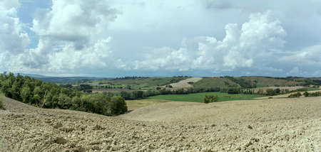 plowed fields in mild hilly Tuscan landscape, shot in bright light near Buonconvento, Siena, Tuscany, Italy