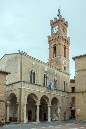 PIENZA, ITALY - september 23 2020: cityscape with Town hall historical Renaissance palace, shot in bright light on september 23 2020 at Pienza, Siena, Tuscany, Italy