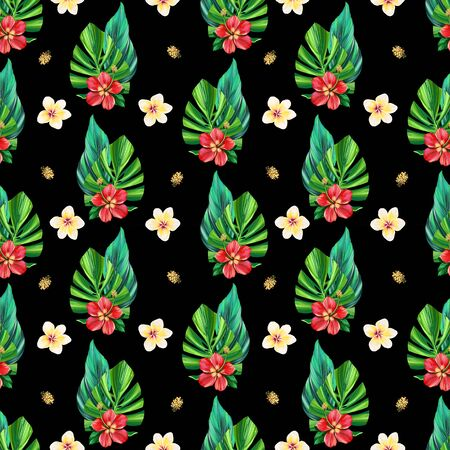 Tropical digital pattern with monstera palm leaves, exotic flowers hibiscus and Plumeria on dark background. Seamless summer fabric design. Hand drawn illustration