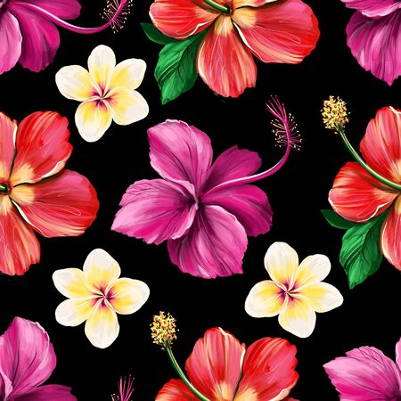 Floral digital pattern with Hibiscus on black background. Seamless summer tropical fabric design. Hand drawn illustration Zdjęcie Seryjne