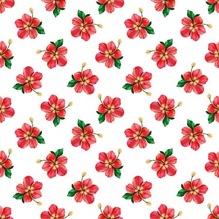 Floral digital pattern with red Hibiscus on white background. Seamless summer tropical fabric design. Hand drawn illustration