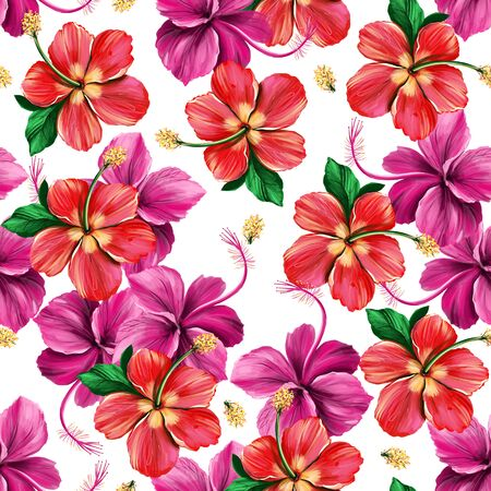 Floral digital pattern with Hibiscus on white background. Seamless summer tropical fabric design. Hand drawn illustration