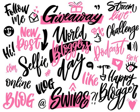 Blogging and vlogging set hand lettering and doodle elements. Vector phrases for creating content and posting it on social media, blog and vlog.mBundle of design elements pink and black colors isolated on white background