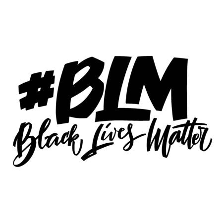 Black lives matter hand lettering banner for protest human right of black people in US America. Vector calligraphy illustration on white background