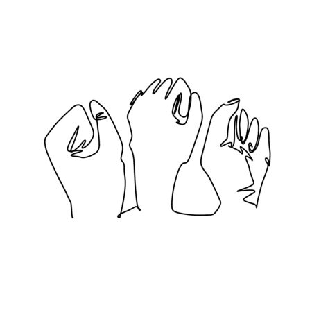 Hands with clenched fingers in one line art style. Continuous line drawing fists. Protest or revolution concept.