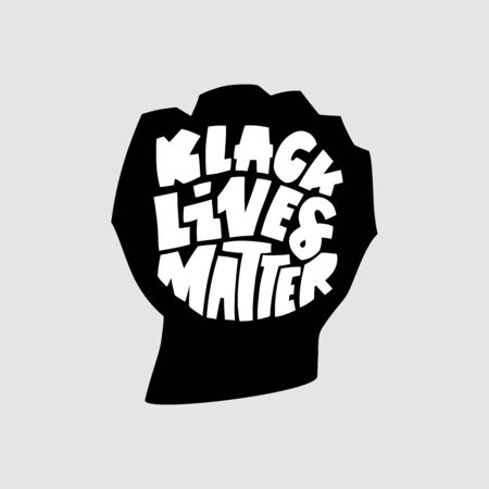 Black lives mattern hand lettering banner in fist black silhouette for protest human right of black people in U.S.A. Vector calligraphy illustration on grey background 일러스트