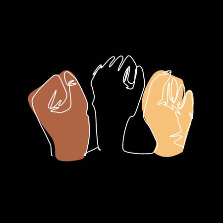 Hands with clenched fingers in one line art style. Continuous line drawing fists. Protest or revolution concept. Hand drawn vector illustration on black bacground.