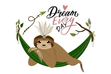 Sloths of cute character in hand drawn style with lettering Dream every day for posters, birthday cards, party, baby showers and greetin cards. Vector illustration isolated on white background