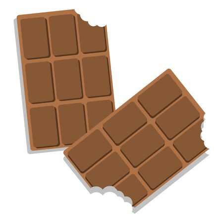 sweets, slices of chocolate, isolate on a white background