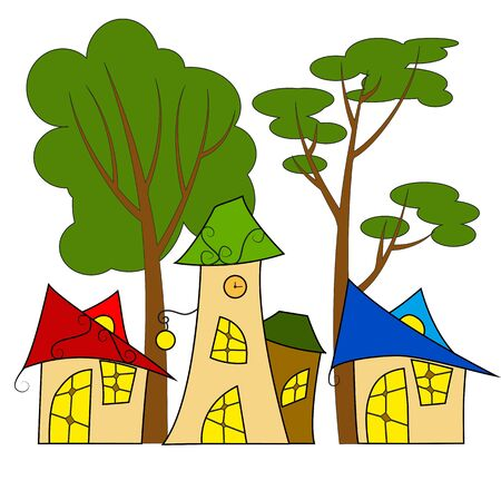 fairy houses in bright colors illustration