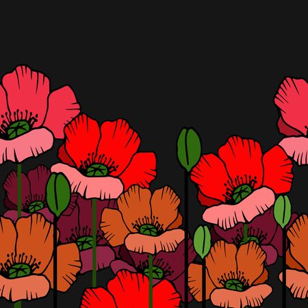 pattern with poppies on a dark background