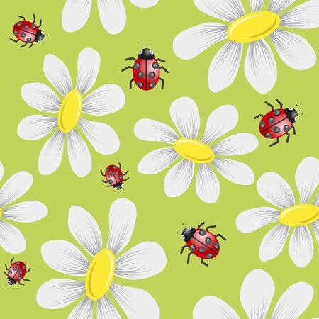 seamless pattern with daisies and bugs