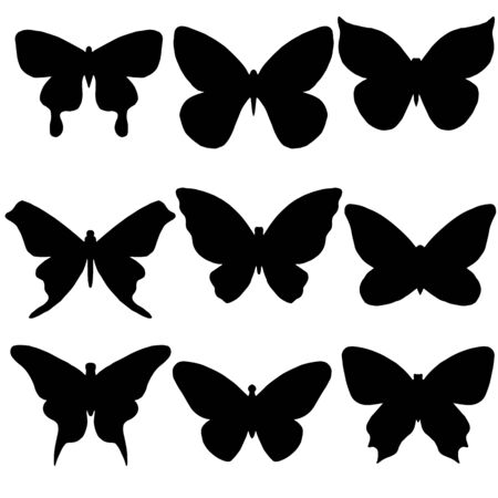 a set of different butterflies in black