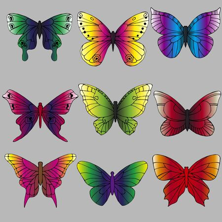 a set of different butterflies in bright colors