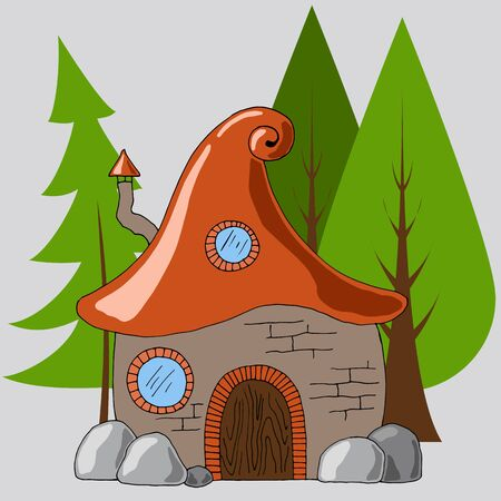 forest hut in the style of a cartoon Illustration