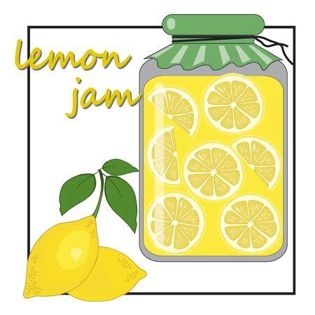 lemon jam in a glass jar Ilustracja