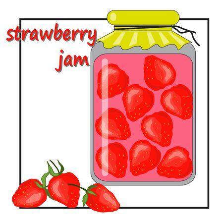 strawberry jam in a glass jar
