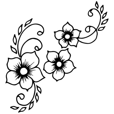 graphic flowers, without color  イラスト・ベクター素材