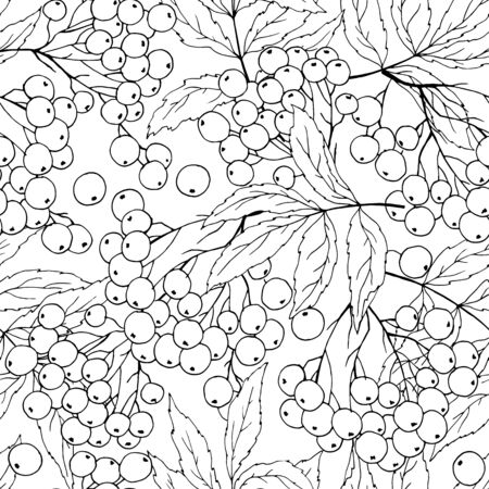 seamless pattern with branches of rowan in black and white