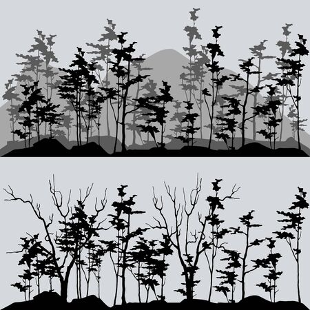 silhouettes of the forest in gray and black tones Vektorgrafik
