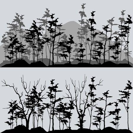 siluetas del bosque en tonos grises y negros Ilustración de vector