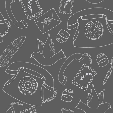 seamless pattern in monochrome colors, communication means Stock Illustratie