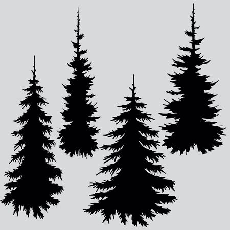 Silhouette of trees in black