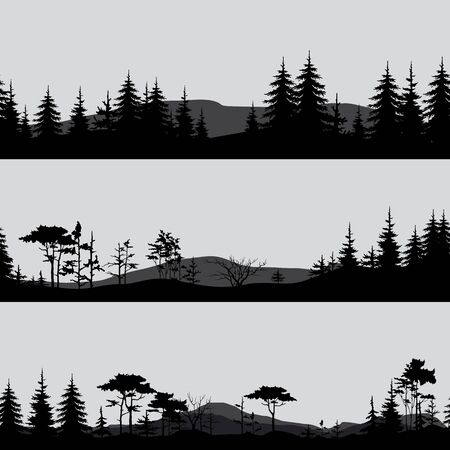silhouettes of the forest in gray and black tones Vettoriali