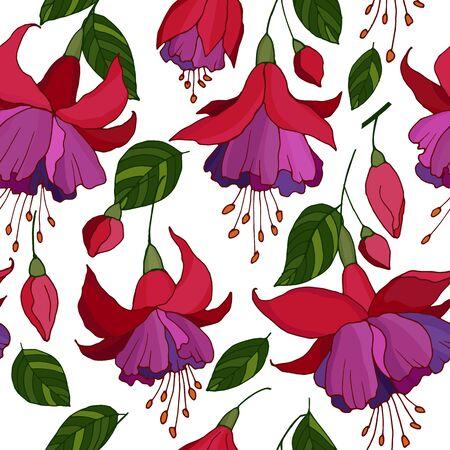 seamless pattern with fuchsia flowers