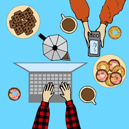 background with cookies and coffee, a computer and a phone 일러스트