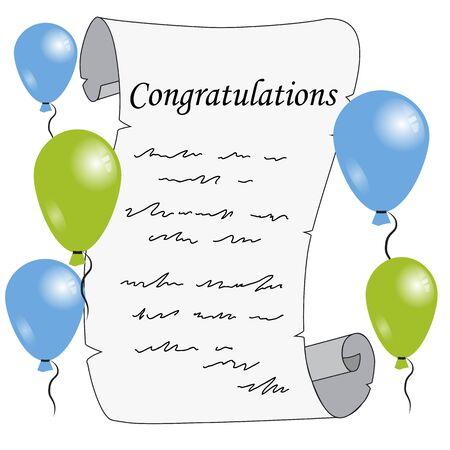 greetings letter, balloons