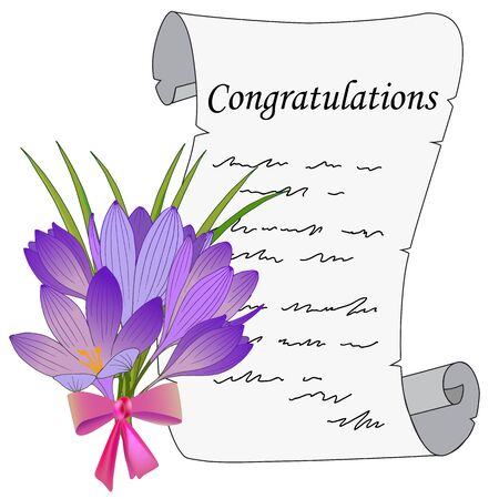 letter with greetings, bouquet of flowers Illustration
