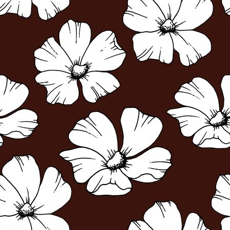 seamless pattern with black and white flowers on a brown background Vectores