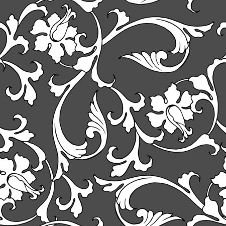 seamless pattern with plant ornament in classical style